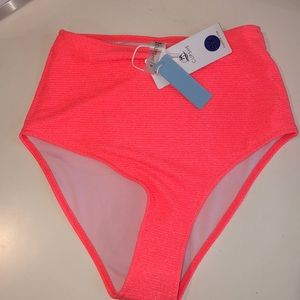 NWT High waisted neon pink bikini bottoms